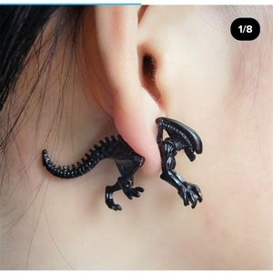 NWT Pair of Black Alien Earrings! Goth Metal!